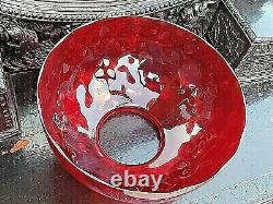 Ruby Red Victorian large Vintage Oil Lamp Art Glass Shade