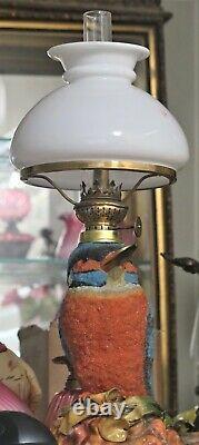 S 212 Antique Pink & Light Pink Art Glass Victorian Miniature Oil Lamp MINT