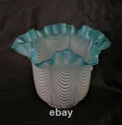 S-473 Mint Blue Snowflake Art Glass Miniature Oil Lamp, A VERY VERY RARE LAMP