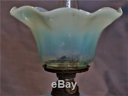 S 526 Blue Opalescent Victorian Antique Miniature Art Glass Oil Lamp UNDAMAGED