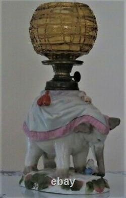 SII 330 Figural Elephant with Dog Antique Victorian Miniature OIL Lamp MINT