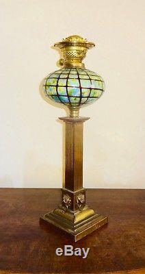 Stunning Victorian Bronze And Loetz Glass Corinthian