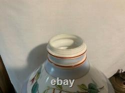 Sandwich glass double knuckle decorated slant shade kerosene oil burner tripod