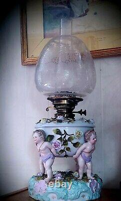 Sitzendorf Porcelain Oil Lamp With Shade And Chimney. Late 19th. Century
