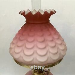 Small Antique Oil Lamp Embossed Cranberry Satin Glass Shade Cased Cranberry Font