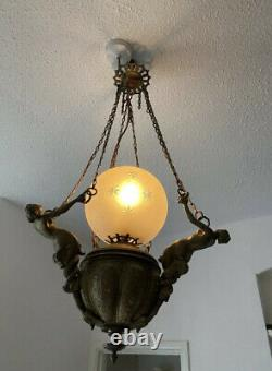 Solid Bronze Mythical Mermaids, Antique Chandelier Victorian Oil Lamp