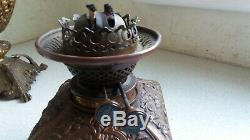 Stunning Antique Brass / Bronze Messengers Double Duplex 2- Oil Lamp