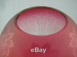 Stunning Cranberry Glass Etched Antique Beehive Oil Lamp Shade, Duplex 4 Fitter