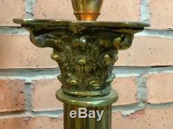Stunning Cranberry Glass Victorian Corinthian Column Twin Duplex Table Oil Lamp