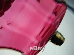 Stunning Lge Victorian Oil Lamp Font Cranberry Glass, Internal Ribbed Decoration
