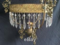 Stunning Victorian Hanging Oil Library Lamp Crystal Prisms