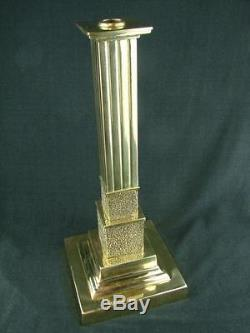 Stunning Victorian Polished Brass Oil Lamp Base, Square Base & Reeded Column