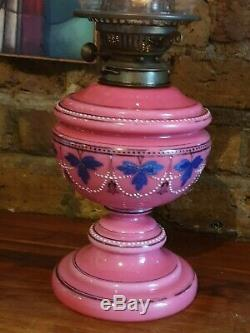 Stunning Victorian Shocking Pink Opaline Glass Oil Lamp +acid etched shade 62 cm