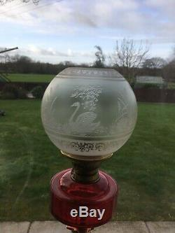 Suberb Rare Victorina Swan Oil Lamp Shade