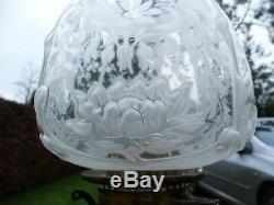 Super Antique Original Clear Glass Victorian Nouveau Acid Etched Oil Lamp Shade