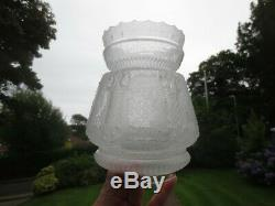 Superb 1890's Victorian Antique Embossed & Etched Duplex Oil Lamp Shade