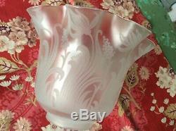 Superb Antique Art Nouveau ST LOUIS Acid Etched Oil Lamp Shade 2 5/8 Fitter
