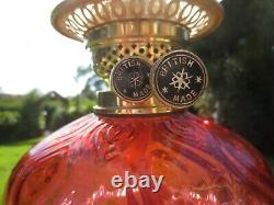 Superb Antique Brass & Cranberry Glass Oil Lamp With Vintage Shade & Chimney