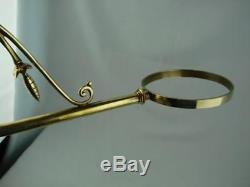 Superb Antique Brass Wall Bracket, Duplex Ruby Glass Oil Lamp, Drop In Font