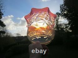 Superb Antique Cranberry Vaseline Glass Duplex Oil Lamp Shade Suit Was Benson