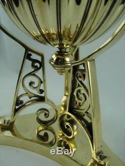 Superb Antique Polished Brass Oil Lamp Base Drop In Font + Young's Duplex Burner