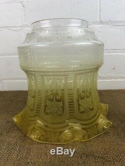 Superb Antique Tulip Yellow Lemon Acid Etched Duplex Oil Lamp Shade