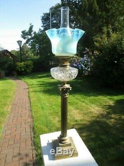 Superb Antique Vaseline Glass Duplex Oil Lamp Shade Was Benson Suit
