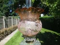 Superb Antique Victorian Acid Etched Duplex Tulip Oil Lamp Shade