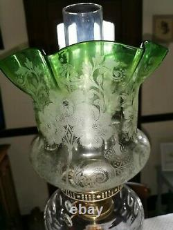 Superb Antique Victorian Green Tinted Acid Etched Duplex Tulip Oil Lamp Shade