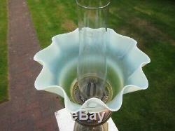 Superb Antique Victorian Vaseline Glass Duplex Oil Lamp Shade Suit Was Benson