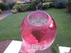 Superb Antique Victorian Veritas Cranberry Acid Etched Duplex Oil Lamp Shade