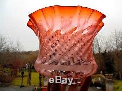 Superb Burnt Orange Etch Victorian Oil Lamp Shade