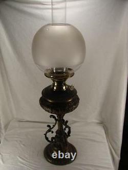 Superb Heavy 19th C Burnished Cast Metal Oil Lamp, Matador Burner, Etched Globe