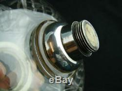 Superb Messenger's Silver Plated & Clear Cut Crystal Oil Lamp Font, Bayonet Fit