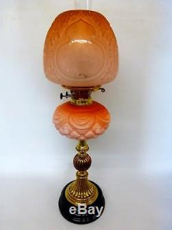 Superb Original Complete Victorian Orange Satin Finish Duplex Oil Lamp