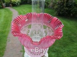 Superb Original Victorian Crystal Etched Cranberry Duplex Tulip Oil Lamp Shade
