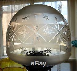 Superb Original Victorian Cut Glass Oil Lamp Shade