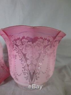 Superb Pair Of Antique Veritas Cranberry Acid Etched Duplex Oil Lamp Shades