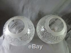 Superb Pair Of Veritas Victorian Acid Etched Glass Duplex Oil Lamp Shade