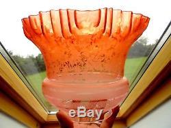 Superb Quality Fine Etch Burnt Orange Victorian Art Nouveau Oil Lamp Shade