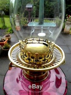 Superb Quality Victorian Cranberry Glass Column Duplex Oil Lamp