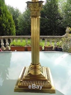 Superb Quality Victorian Peach Glass Corinthian Column Duplex Oil Lamp