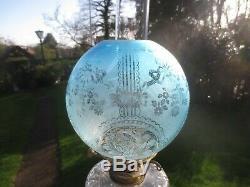 Superb Rare Blue Antique Victorian Veritas Acid Etched Duplex Oil Lamp Shade