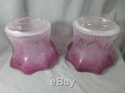 Superb Rare Pair Of Victorian Cranberry Acid Etched Glass Duplex Oil Lamp Shade