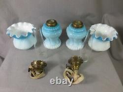Superb Very Rare Antique Victorian Blue Glass Miniature Oil Lamps