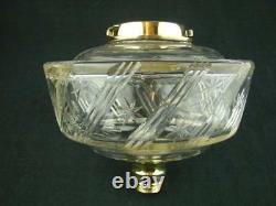 Superb Victorian Clear Glass Oil Lamp Font, Facet Star Decoration & Bayonet Fit