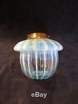 Superb Victorian Hinks Original Vaseline Opalescent Glass Duplex Oil Lamp Fount