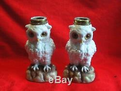Superb Victorian Matching Pair Of Ceramic Owl Oil Lamps