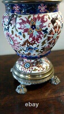 Superb Victorian Oil Lamp Ceramic And Brass With Cranberry Shade Perfect