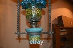 Superb Victorian hanging oil lamp with original shade and font
